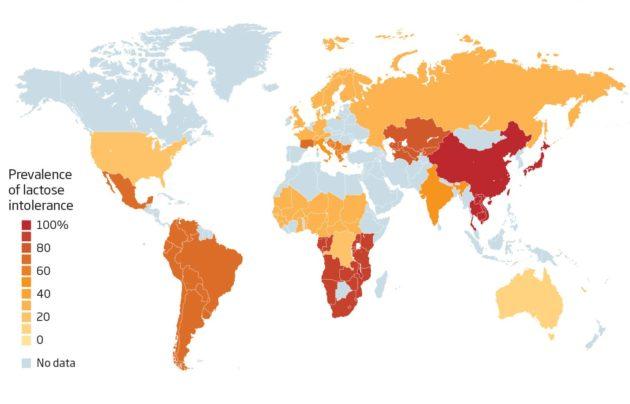 A laktóz intolerancia előfordulás országonként, a lakosság százalékában
