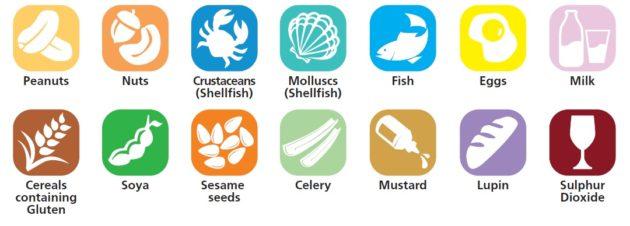14 fő csoportba sorolva találhatóak azok az anyagok, amelyek veszélyt jelenthetnek az ételallergiában, vagy intoleranciában szenvedőknek.