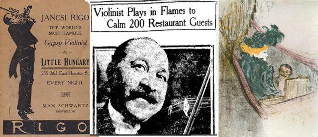 """Balra: Rigó Jancsi a Little Hungary-ban, plakát. Középen: Az Oakland Tribune riportja: """"A hegedűs a lángokban is játszott, hogy lenyugtassa az étterem 200 vendégét"""". Jobbra: Rigó Jancsi és Clara Ward, Caraman-Chimay hercegnője, ahogy Toulouse-Lautrec látta őket 1897-ben."""
