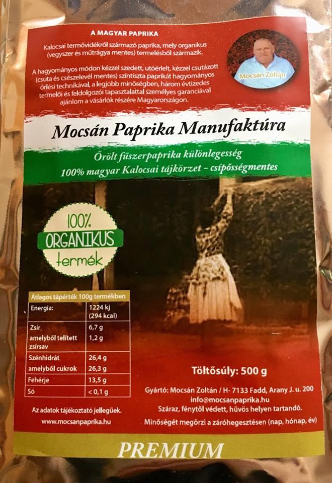 Vegyszermentes, 100% organikus magyar premium fűszerpaprika (Mocsán Paprika Manufaktúra, Fadd)