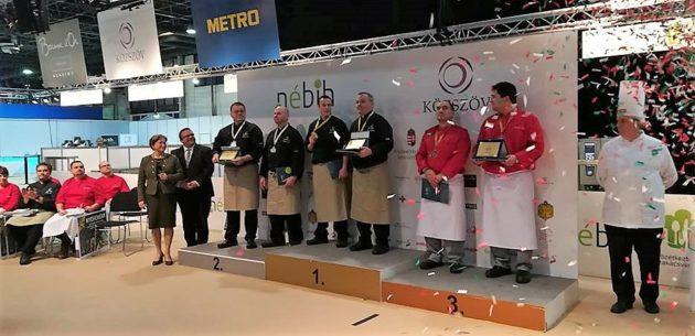 A Közétkeztetési Szakácsverseny győztesei (2018, SIRHA, Budapest)