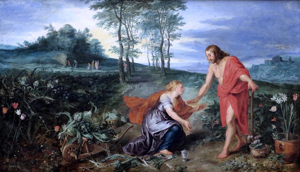 Peter Paul Rubens (1577-1640) és ifj. Brueghel (1601-1678) Noli me tangere, Krisztus megjelenik Mária Magdolnának a feltámadás után (1626, Bremen Kunsthalle)