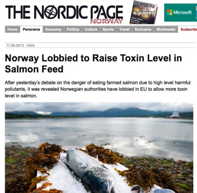 2013-ban a norvég hivatalok kilobbizták az EU-nál a a lazactakarmány toxin szintjének emelését