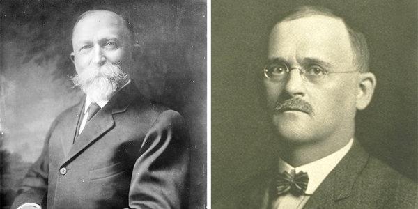 """Amíg a corn flakes feltalálója, Dr. John Harvey Kellogg (balra) a """"wellness"""" fogalmával foglalkozott, a testvére, Will Keith Kellogg (jobra) állt a cég mesteri marketingje mögött."""
