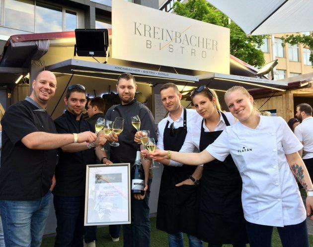 A Kreinbacher Bistro csapata a Gourmet legjobb étele oklevéllel (2018)