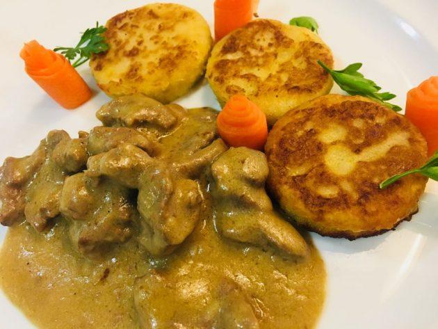 II. helyezett: Mustáros őztokány, pirított leveszöldséggel és hozzá gánica tallér. A recept beküldője:Nagy László.