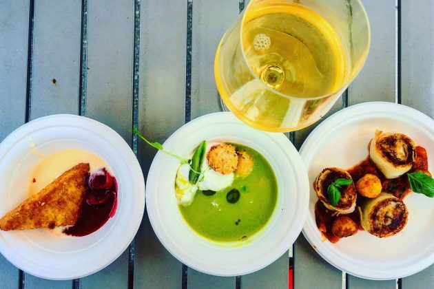 Debrecziner Gourmet Fesztivál 2018 - Az egyik legjobban tetsző választékkal a Mirage (balról jobbra: rántott tarhonya desszert, friss hideg leves tormahabbal, halgombócokkal, nyúl hasalja)