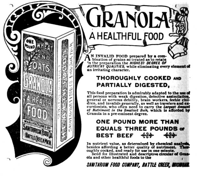 A Kellogg's Granola hirdetése 1893-ból