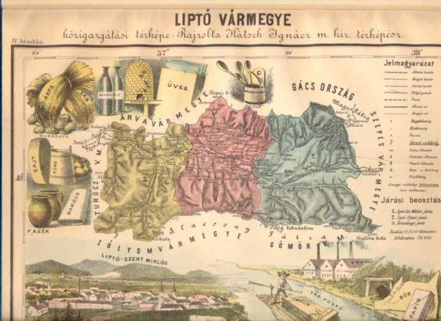 Liptó vármegye közigazgatási térképe (részlet)