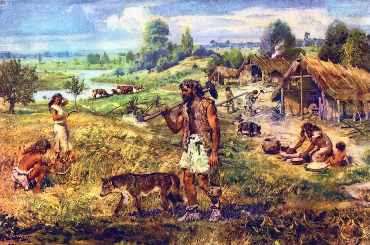 """A """"neolitikus forradalom"""" idealizált ábrázolása"""