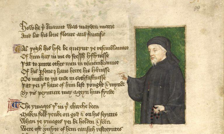 Geoffrey Chaucer portréja (Regiment of Princes, 1400-1450 körül, British Library)