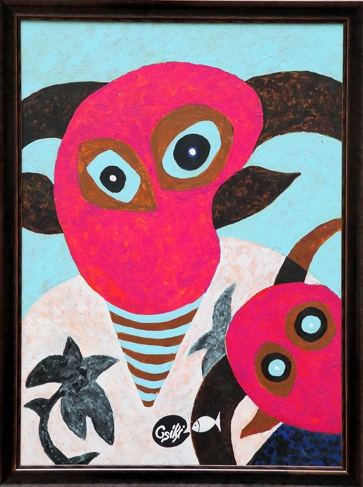 90 x 65 cm, akril, vászon, keretezve - ELADÓ - 380.000 Ft
