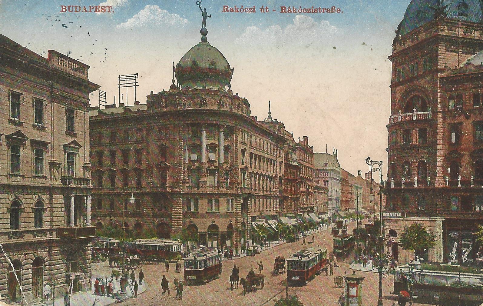 Budapest, Rákóczi út, 1918 (képeslap)