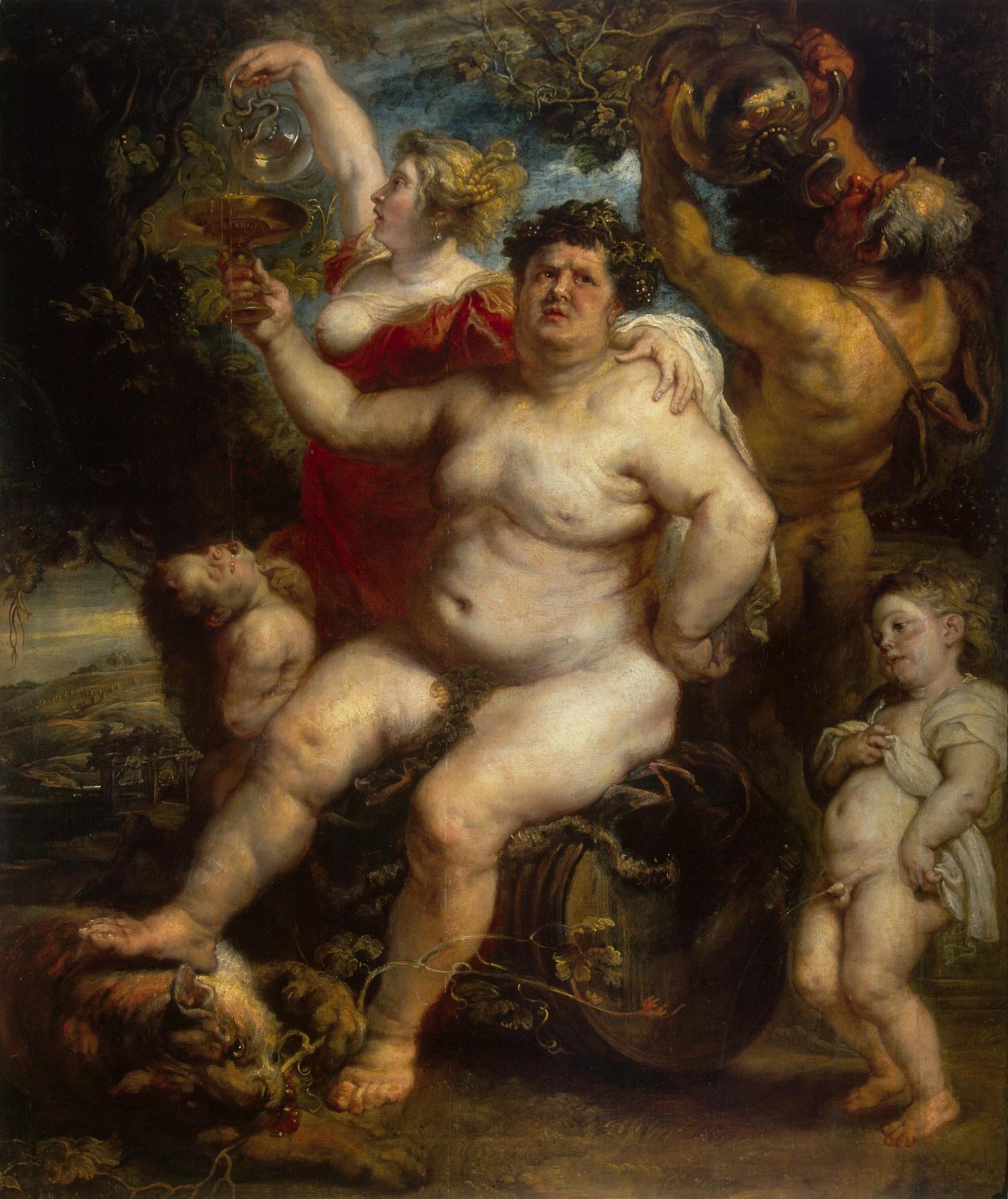 Rubens, Bacchus, festette: 1638-1640, olaj, vászon, 191x161,3 cm (Ermitázs Múzeum, Szentpétervár, Oroszország)